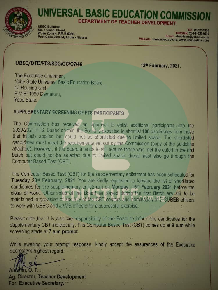 UBEC Approves Supplementary Shortlist Of FTS Candidates 2020, Announces Exam Date
