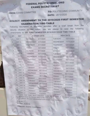 OKOPOLY Exam Timetable for 1st Semester 2019/2020 is out