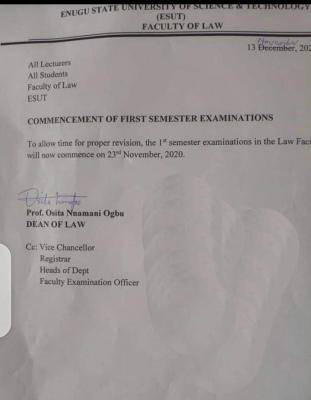 ESUT Postponed 2019/2020 1st semester Exams for Faculty of Law
