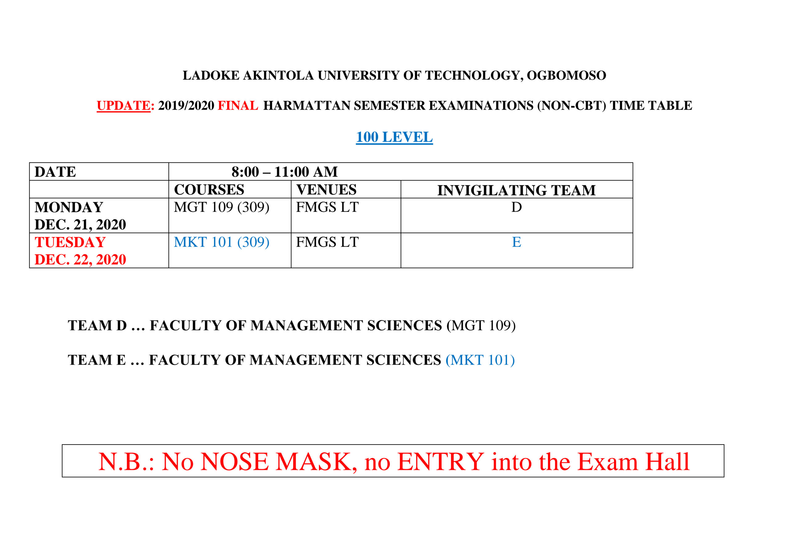 LAUTECH Exam Timetable for Harmattan Semester 2019/2020 is out
