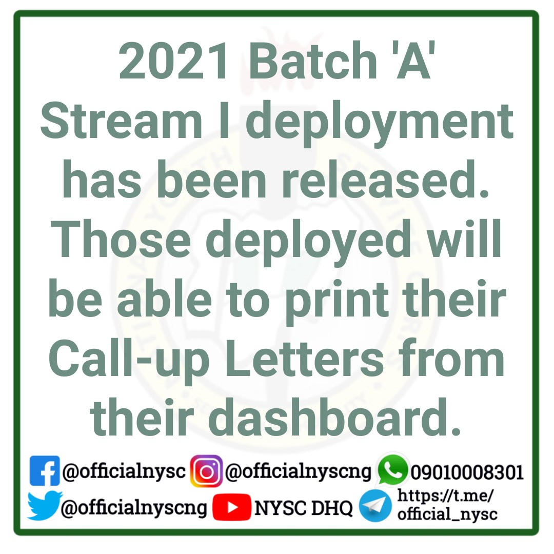 NYSC 2021 Batch 'A' Stream | Deployment