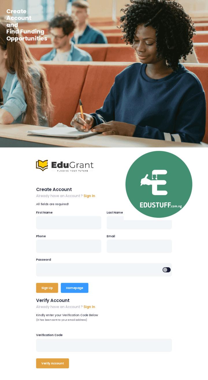 EduGrant Scholarship Application Form