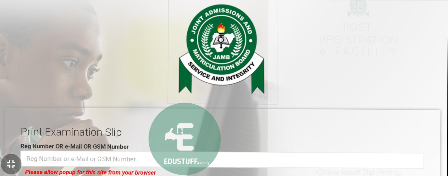 Jamb exam slip printing portal