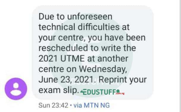 Jamb reschedule exam