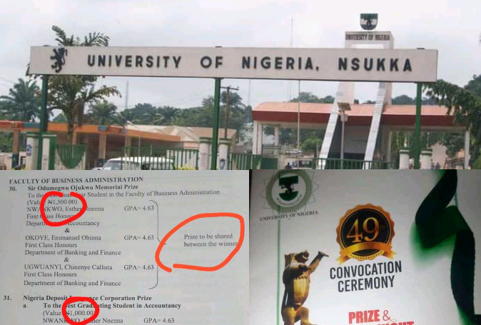 University Of Nigeria (UNN) Awards N1,000 To Best Graduating Students at 49th Convocation