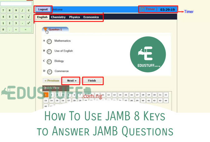 How To Use JAMB 8 Keys or Keyboard to answer JAMB questions