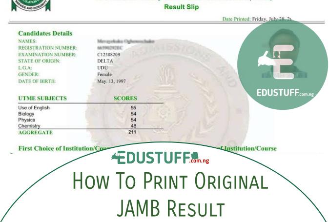 JAMB original result